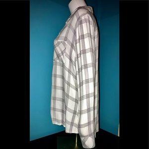 Rails Tops - RAILS • Modern White & Gray Plaid Flannel / (L)